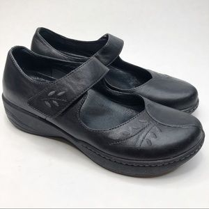 Dansko Leaf Print Black Leather Mary Jane Clogs